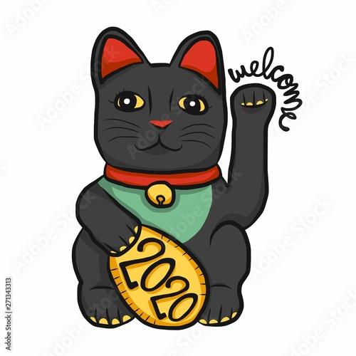Printed kitchen splashbacks Cats Lucky cat (Maneki Neko) black color welcome 2020 cartoon vector illustration