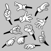 Cartoon Hands With Gloves Icon Set Isolated. Vector Clipart - Parts Of Body, Arms In White Gloves. Hand Gesture Collection. Design Templates For Graphics