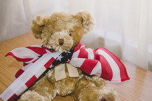 Little Teddy Bear With USA Fla...