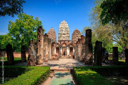 Wat Si Sawai (Sri Savaya) in Sukhothai Historical Park In Thailand., Tourism, World Heritage Site, Civilization,UNESCO.