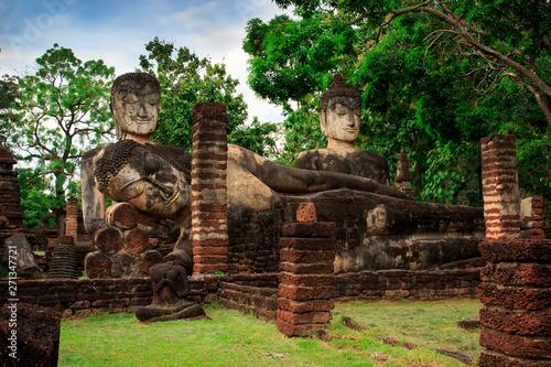 Buddha statue at the ruins in Kamphaeng Phet Historical Park In Thailand, Buddha statue, Old Town,Tourism, World Heritage Site, Civilization,UNESCO.
