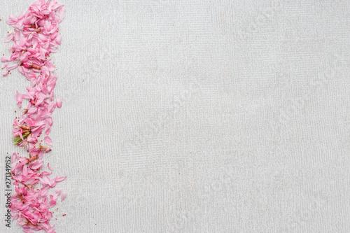 Fototapeta Gray background with a wide stripe of flower petals obraz na płótnie