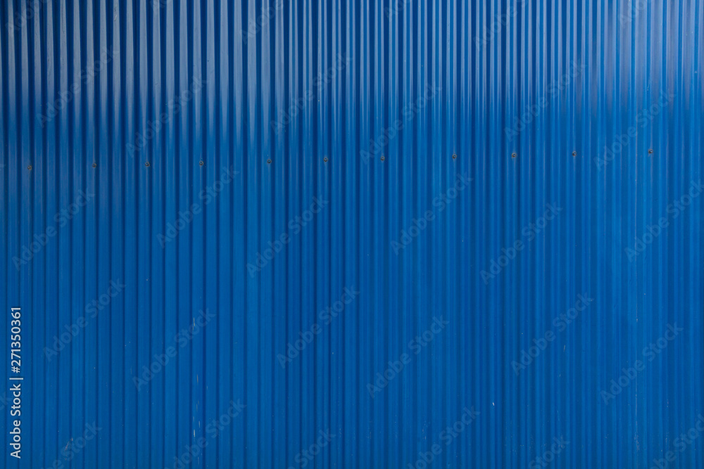 Fototapety, obrazy: Blue corrugated iron material, building materials