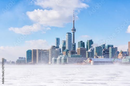 Foto auf Gartenposter Toronto Toronto frozen lake Ontario. Early morning panoramic view of downtown with snow blizzard
