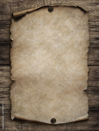 Old paper scroll on wood wall 3d illustration