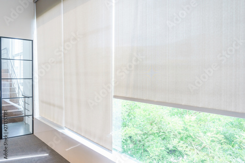 Roll Blinds on the windows, the sun does not penetrate the house Wallpaper Mural