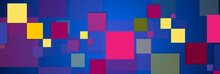 Retro Blue Purple Geometric Squares Abstract Background