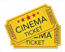 Illustration. Two Old-fashioned Cinema Tickets Isolated On White Background