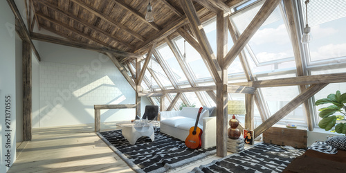 In de dag Eigen foto My place under the roof 01 (concept) - 3d visualization