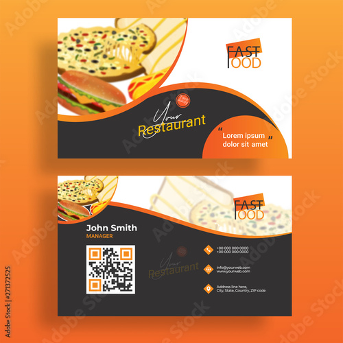 Cuadros en Lienzo Business card set or template with illustration of fast food for shop and restaurant