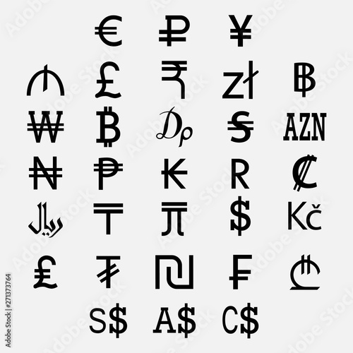 SET OF WORLD CURRENCY SYMBOLS 02  White background - Buy this stock