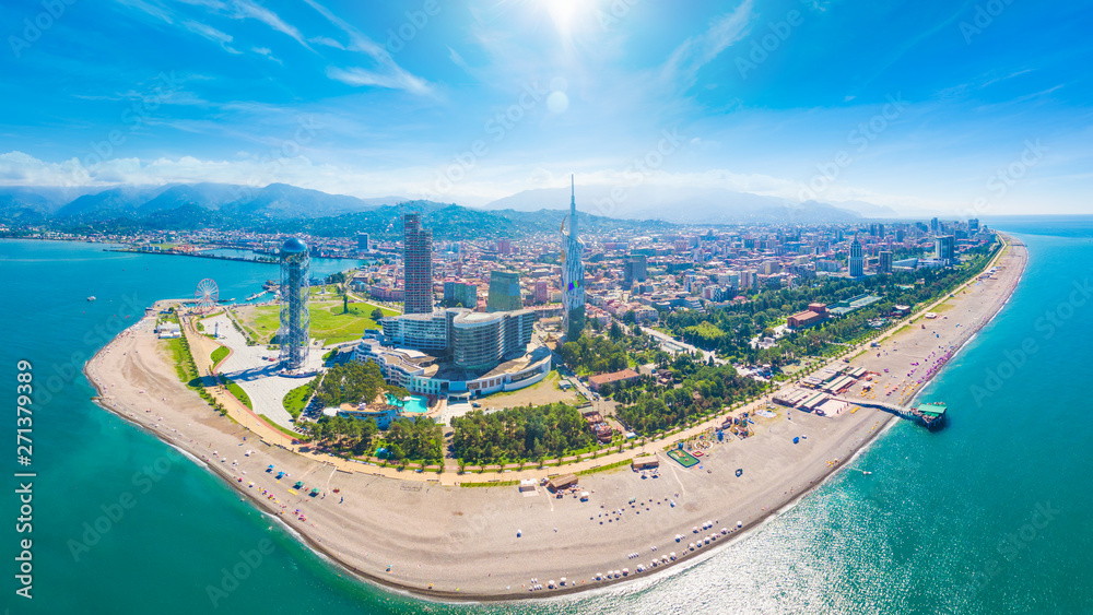 Fototapety, obrazy: Aerial image of beautiful Batumi made with drone in sunny summer weather.