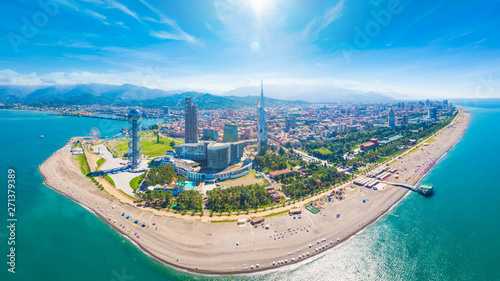Fototapeta  Aerial image of beautiful Batumi made with drone in sunny summer weather