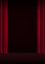 Red Curtains Stage, Theater Or Opera Background With Spotlight.