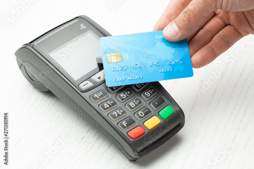 Contactless payment by credit card Wallpaper Mural