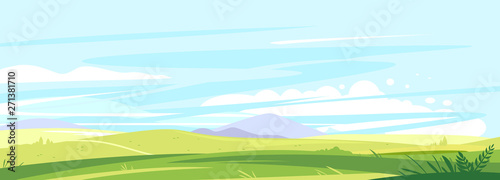 Photo sur Aluminium Bleu clair Big panorama of fields and meadows, summer countryside with green hills, summer sunny glades with field grasses and blue sky, travel concept illustration