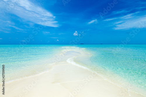 Poster Pays d Europe tropical Maldives island with white sandy beach and sea