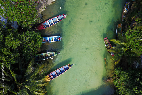 Aerial with fishing boats on White River, Jamaica Canvas Print