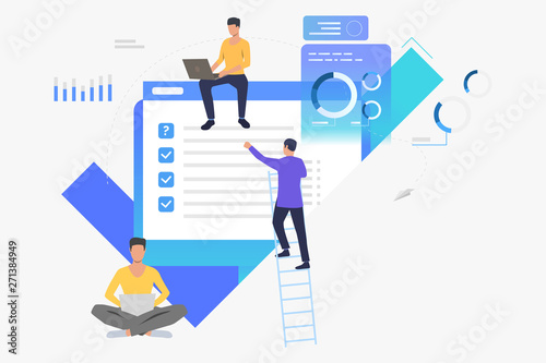 Business people working with data on computers. Chart, information, management concept. Vector illustration can be used for topics like business, technology, analysis - 271384949