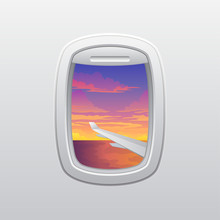 Wing Of The Plane Against The Sunset. View From The Window Of The Plane. Vector Illustration On White Background.