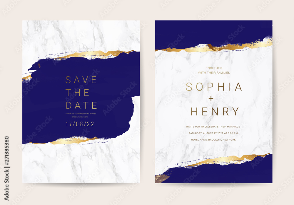Fototapeta Wedding invitation cards with indigo and blue  marble texture background and gold geometric  line design vector.