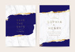 Wedding invitation cards with indigo and blue  marble texture background and gold geometric  line design vector.