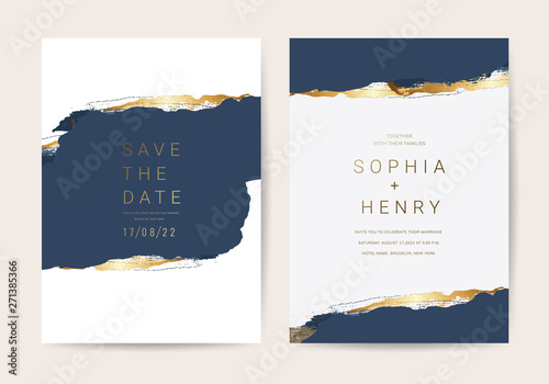 Obraz Wedding invitation cards with Luxury gold and indigo navy marble texture background and Abstract ocean style vector design template - fototapety do salonu