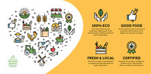 Vector Farmers Market Icon Banner