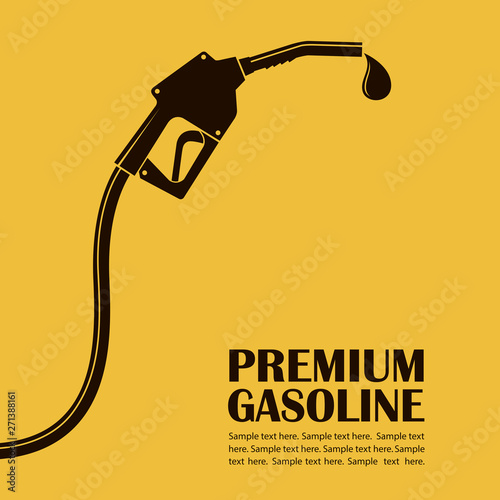 Fotografía gasoline fuel pump nozzle poster with drop