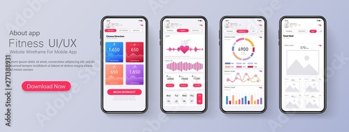 Different UI, UX, GUI screens fitness app and flat web icons for mobile apps, responsive website including Canvas Print