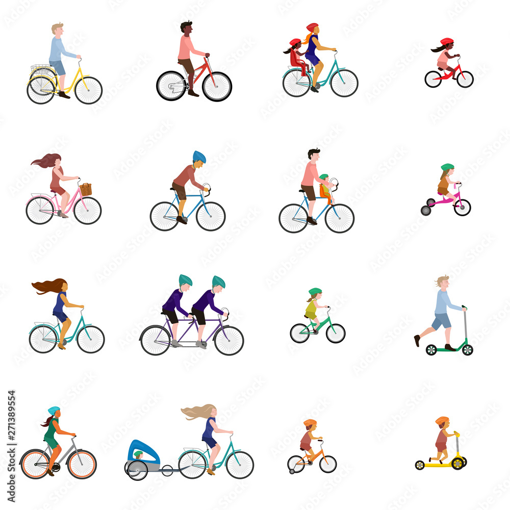 Fototapeta Vector illustrations of people on bicycle, child bike seat and kick scooter