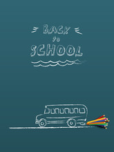Back To School Banner Or Poster Vector Template With Hand Drawn Chalk School Bus With Color Pencil. Sale And Shopping Promotion And Advertising.