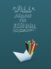 Back To School Banner Or Poster Vector Template With 3d Paper Boat With Color Pencil. Sale And Shopping Promotion And Advertising.
