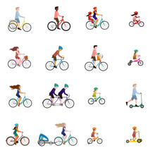 Vector Illustrations Of People On Bicycle, Child Bike Seat And Kick Scooter