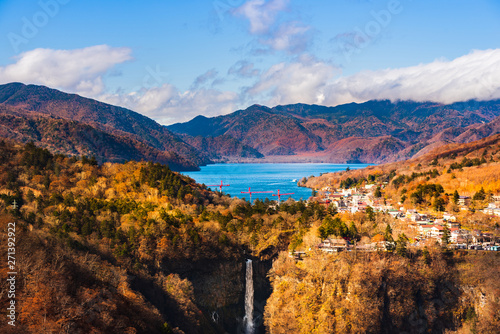 Beautiful scenery of lake Chuzenji and Kegon fall in Japan during autumn