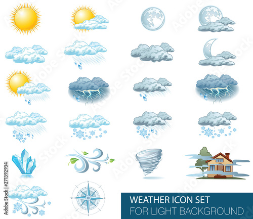 Vector weather forecast icons with bright background Fototapet