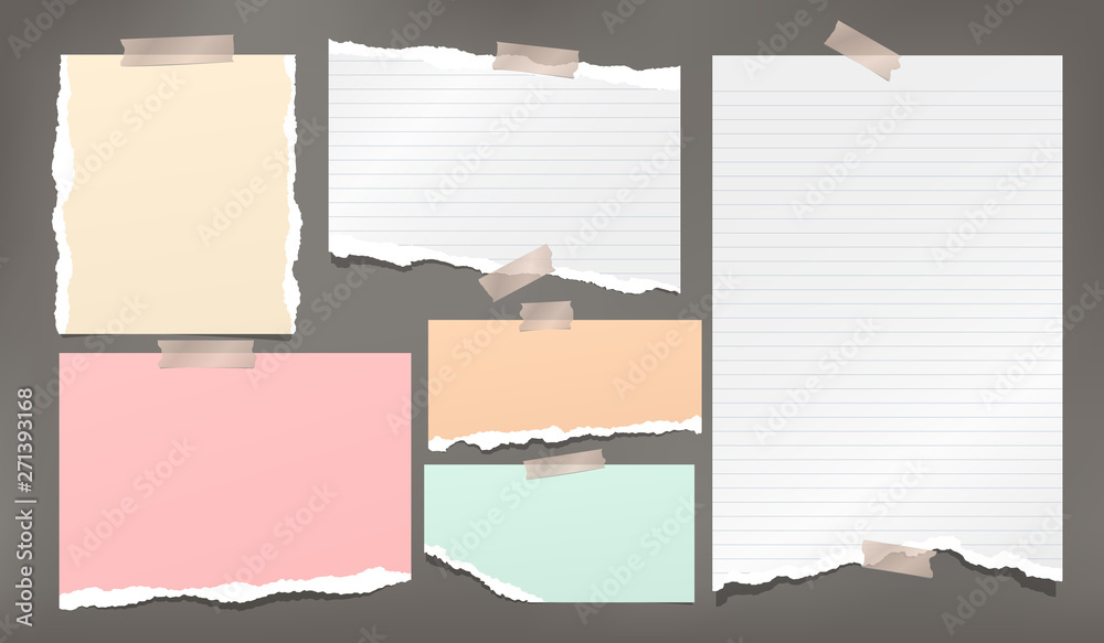 Fototapeta Ripped white and colorful note, notebook paper strips stuck wiht sticky tape on dark grey background. Vector illustration