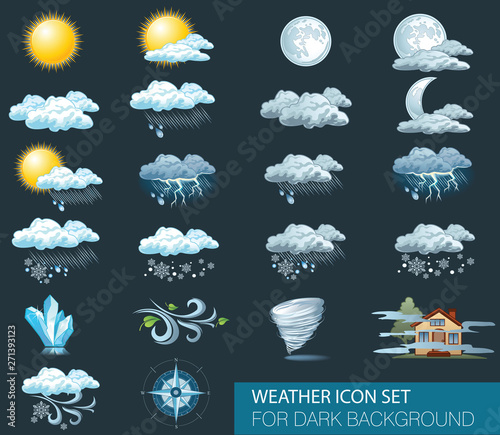 Fototapeta Vector weather forecast icons with dark background. Day and night obraz