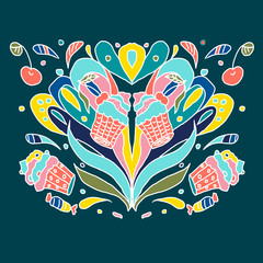 Abstract doodles colorful ornament. Cakes, cherries, flowers. Vector illustration.