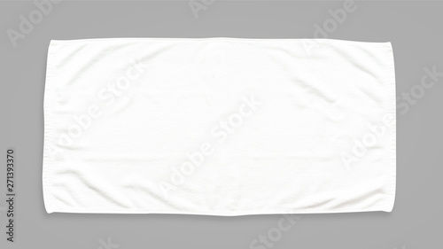 Fotografia  White cotton towel mock up template fabric wiper isolated on grey background wit