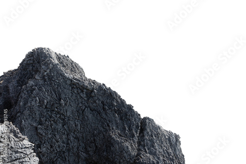 Cliff stone acrimonious located part of the mountain rock put on the top of hill isolated on white background.