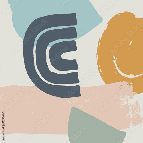 Mid century modern abstract art. Scandinavian style print. Nordic design for interior and other. Vector EPS