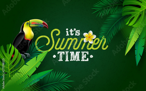 Photo sur Toile Les Textures It's Summer Time Illustration with Flower and Toucan Bird on Green Background. Vector Tropical Holiday Design with Exotic Palm Leaves and Phylodendron for Banner, Flyer, Invitation, Brochure, Poster