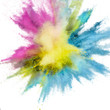 Colored powder explosion on a white background. Abstract closeup dust on backdrop. Colorful explode. Paint holi