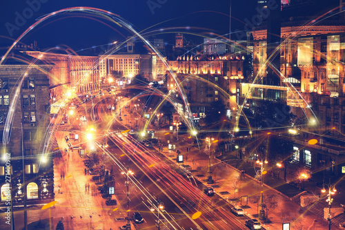 Obraz na plátně View of beautiful illuminated city at night