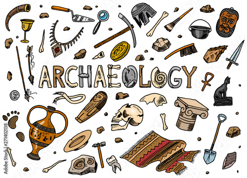 Photo Set of archeology tools, science equipment, artifacts