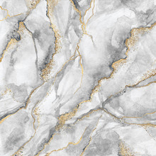 Abstract Background, Creative Texture Of White Marble With Gold Veins, Artistic Paint Marbling, Artificial Fashionable Stone, Marbled Surface