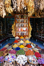 Colorful Crafts Shop With Ceramic Art On A Traditional Moroccan Market In Medina Of Marrakech, Morocco In Africa