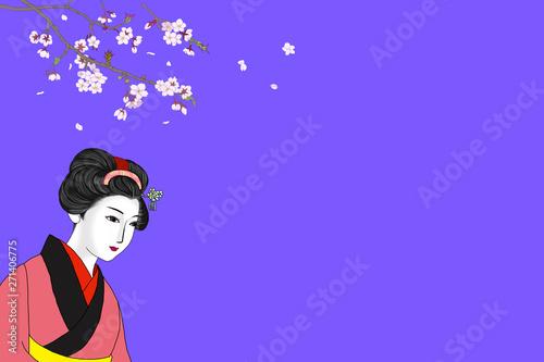 Aluminium Prints 和服の女性と桜の壁紙