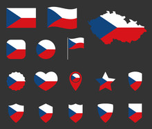 Czech Flag Icons Set, Symbols Of The Flag Of Czechia